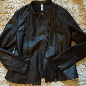 Faux Leather Perf Modi Jacket